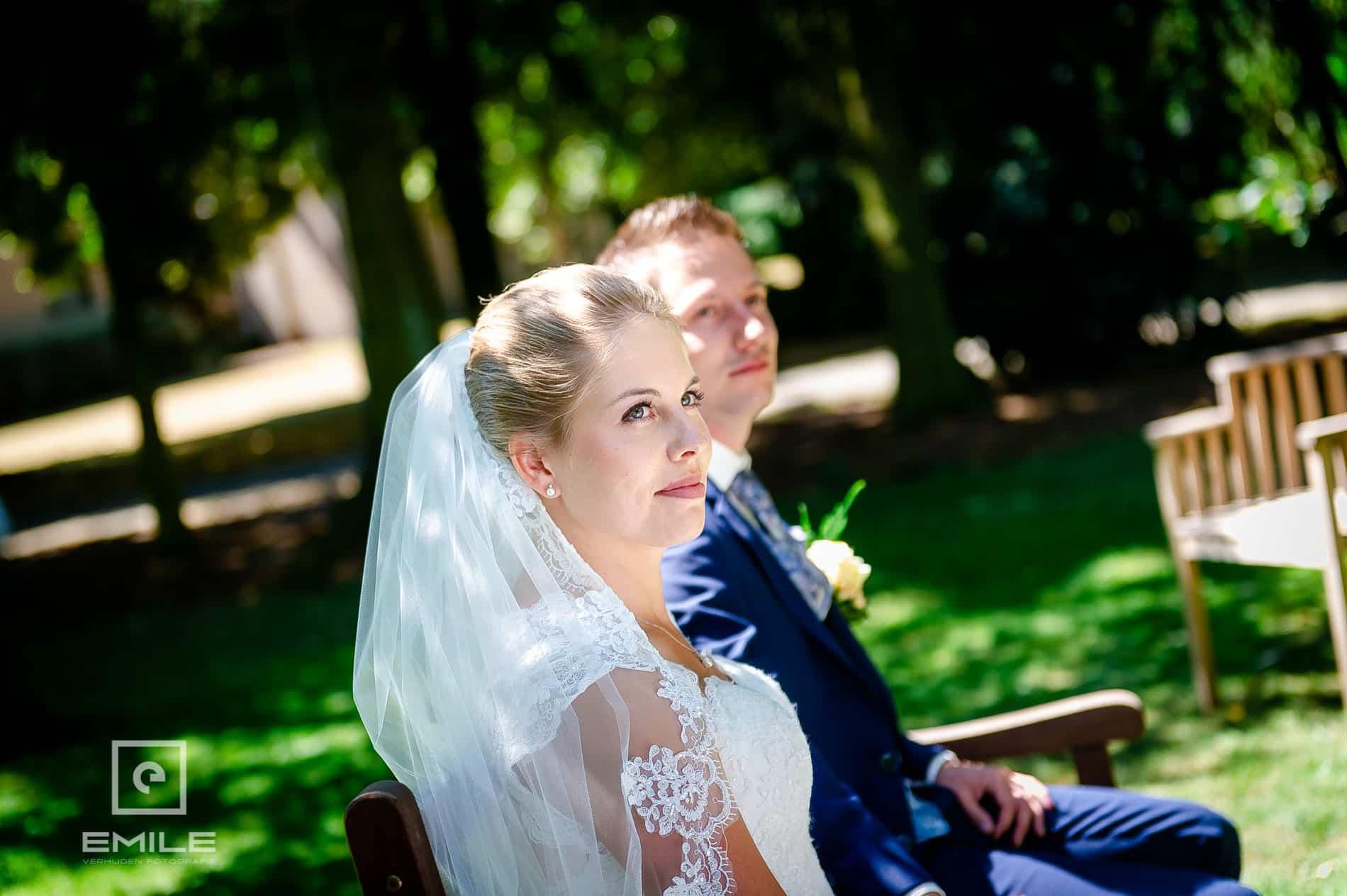Bruid close-up in de tuin  van Partycentrum de Hoeve Venlo