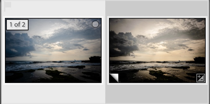 Virtuele kopie in Lightroom filmstrip
