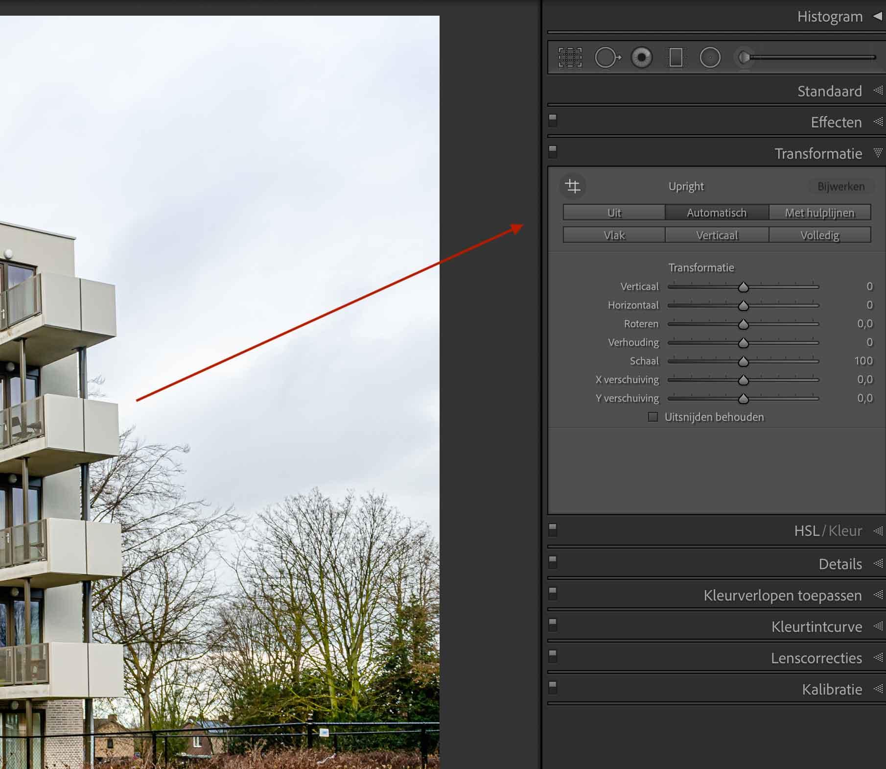 Lightroom transformatie module voor rechtzetten foto