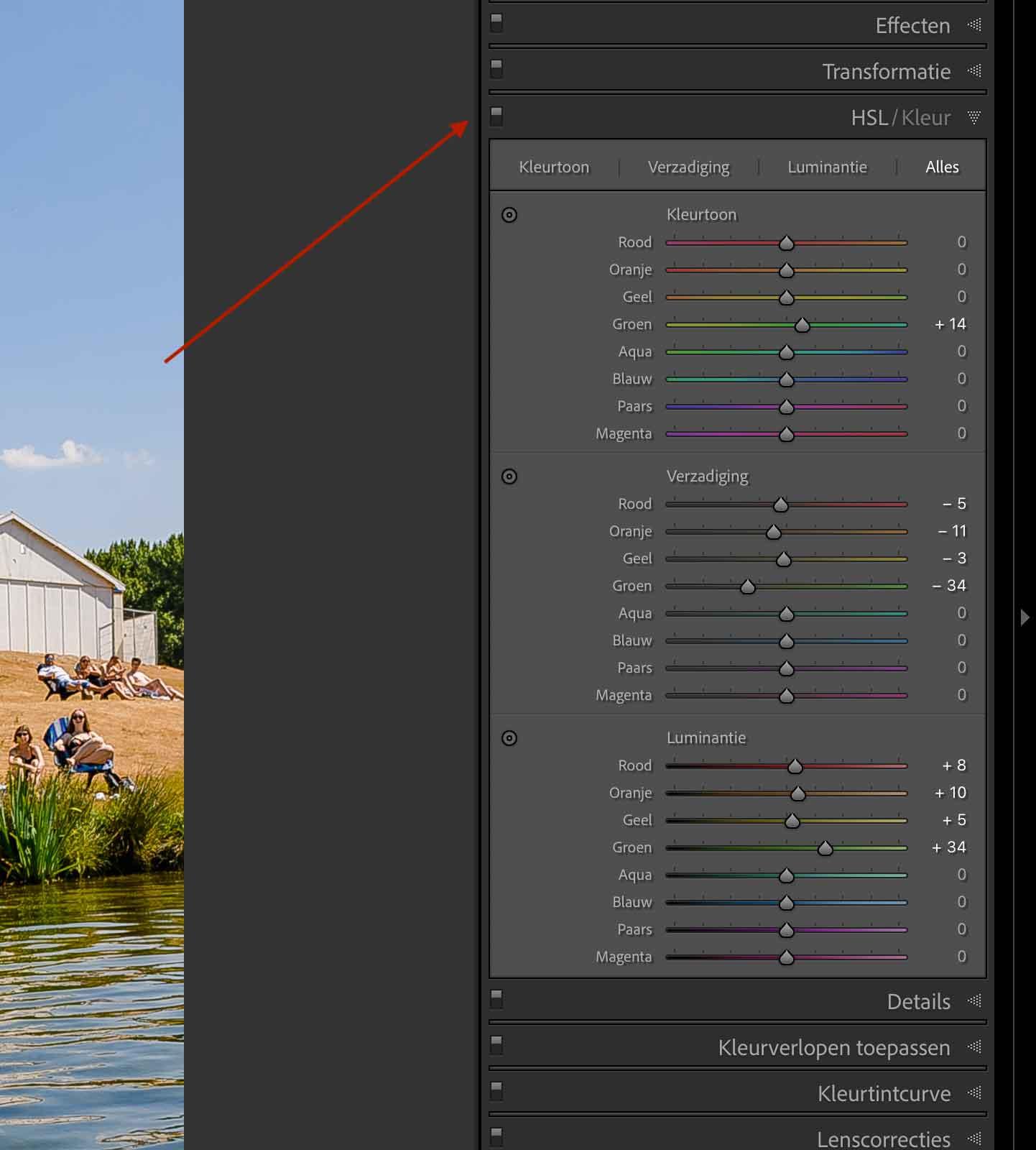 Modulen in en uitschakelen in Lightroom voor en na vergelijken van een foto